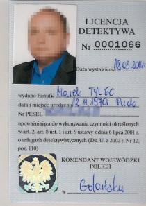 Licencja Dedektywa Marek Tylec